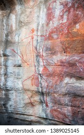 Rock art with human representation in Ubirr on the rugged rock shelters in the Kakadu National Park in Australia
