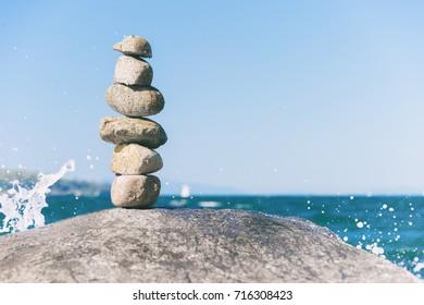 Rock balancing in Vancouver stone stacking garden