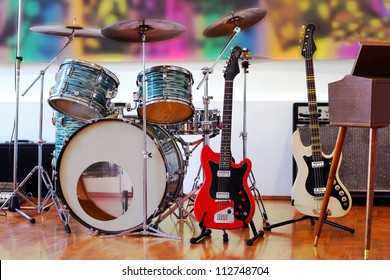 Rock Band Instruments, best focus on red guitar