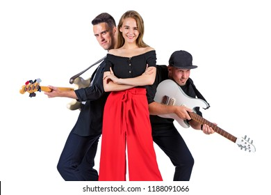 Rock band of two guitarists and singer against white background