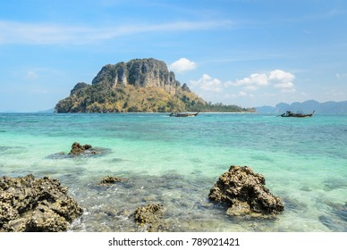 Rock beach with crystal clear andaman sea at Ko Daam Kwan Island in Krabi province, Thailand