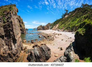 Rock beach in Cudillero, Asturias, Spain
