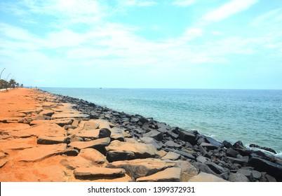 Rock Beach also known as Promenade Beach is popular beach in the city of Puducherry or Pondicherry, India.