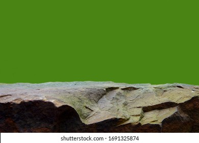 A Rock Boulder, Showing a Rough Texture to the Horizontal Ledge of the Stone Podium.