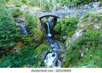 A Rock Bridge Over Christine Falls In Washington State