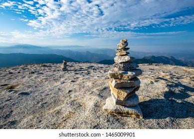 Rock Cairns on Granite Mountaintop