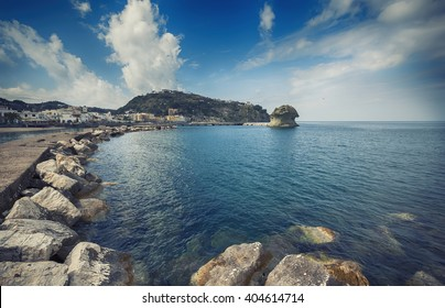 "The rock  called the ""Il Fungo"" in Lacco Ameno ,  Ischia island in Italy"