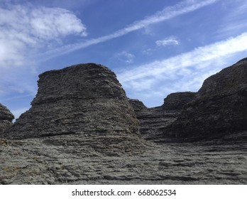 Rock canyon of Öland with blue sky in summer time,