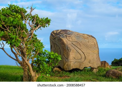 Rock carvings of sea creatures in Orongo, at the top of the Rano Kau Volcano in Easter Island, Chile. - Shutterstock ID 2008588457