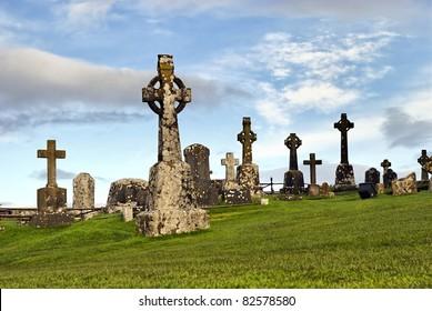 Rock of Cashel, Ireland - celtic crosses at graveyard
