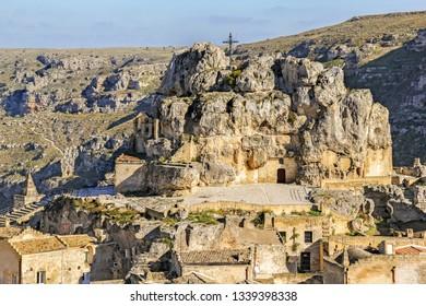 The rock church Santa Maria de Idris,  in the old town (sassi di Matera), Matera, Pulgia, South Italy