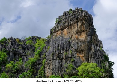 Rock cliff, panoramic view of nice colorful huge cliff.