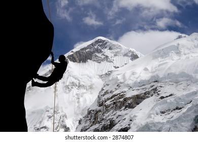 A rock climber near the west ridge of Mt. Everest