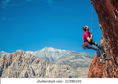 A Rock Climber in Red Rocks, Nevada