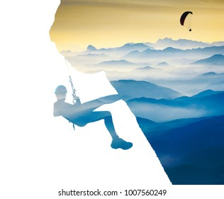 The rock climber silhouette on a cliff and flying paraglide in a sky above the mountains. Extreme sport. Double exposure effect photography. Mixed media.