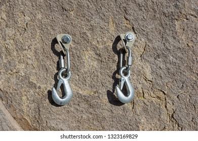 rock climbing anchor in the Owens River Gorge with mussy hooks