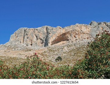 rock climbing cliff in Kalymnos Island, Greece