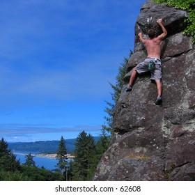 Rock climbing at Patrick's Point, CA