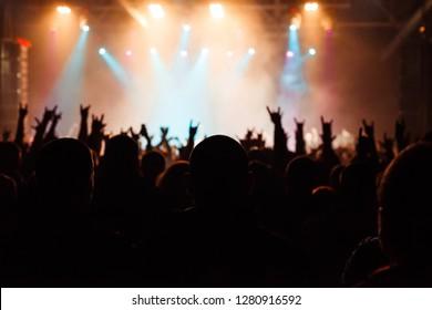 Rock concert crowd near stage