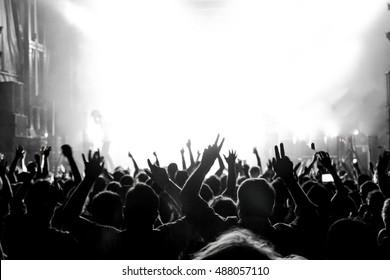 Rock concert. Light show,Public, France, Europe