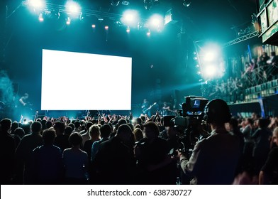 Rock concert, white screen isolated.  (clipping path)