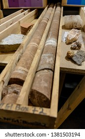 Rock core samples in wooden crates at a geology department