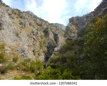 A rock crevice in mountains near Old Town Kotor.
