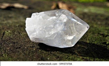 rock crystal on tree stump precious stone