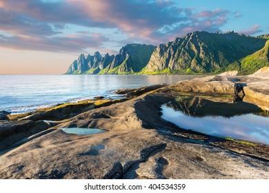 Rock Devil's Jaw. Norwey,island Senja