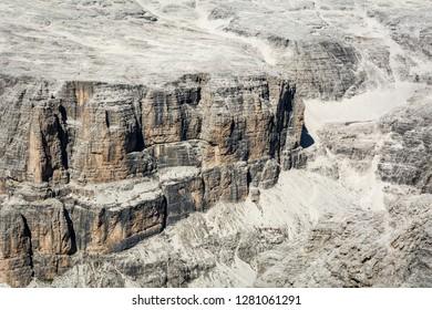 rock dolomite. Detail of the rock of the dolomites. Sass Pordoi, Italian dolomites, Trentino Alto Adige, Northern Italy