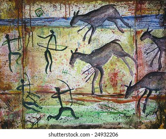 rock drawings on brown background