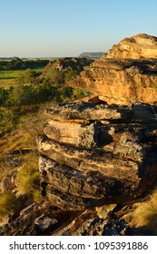 Rock formation at beautiful sunset light in Australian Kakadu park.