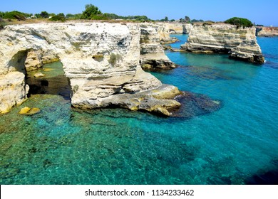 Rock formation and Coastline in Torre Sant' Andrea near Otranto in Salento, Italy