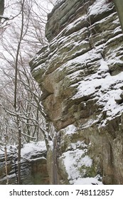Rock formation covered in snow in the winter