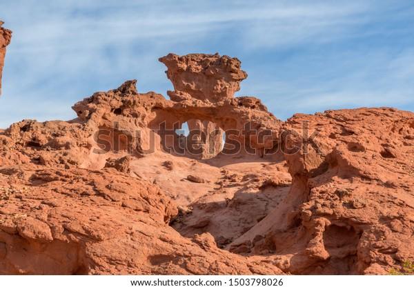 Rock formation in dry desert of Quebrada de las Conchas near Cafayate, Argentina
