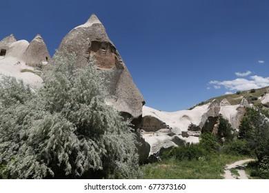 Rock Formation in Uchisar Town,  Cappadocia, Turkey
