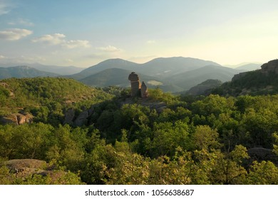 rock formation in the woods around Belogradchik at evening, Bulgaria