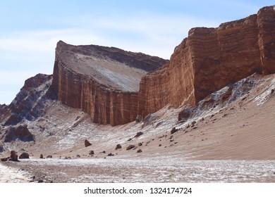 Rock formations of the Atacama desert. The Amfitheater in Valley of the Moon (Valle de la Luna), Atacama Desert, Chile