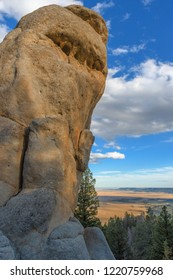 Rock formations with blue sky background