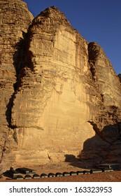 Rock Formations with Blue Sky, Wadi Rum, Jordan
