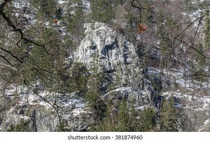 Rock formations called Janosikova hlava in Kvacianska dolina, Slovakia - Shutterstock ID 381874960