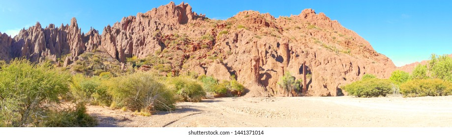Rock formations in the Canon Del Inca, Tupiza Chichas Range, Andes, Southwestern Bolivia, South America