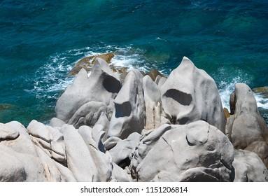 Rock formations in Capo Testa, Sardinia, Italy. Mediterranean coast. Natural granite rocks monument.