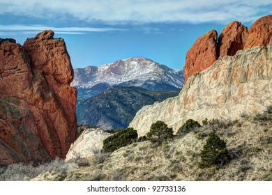 Rock formations at Colorado Springs' Garden of the Gods, with Pikes Peak in background