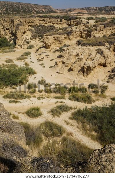 Rock formations in a desert. Bardenas Reales, Castildetierra, Navarre, Spain