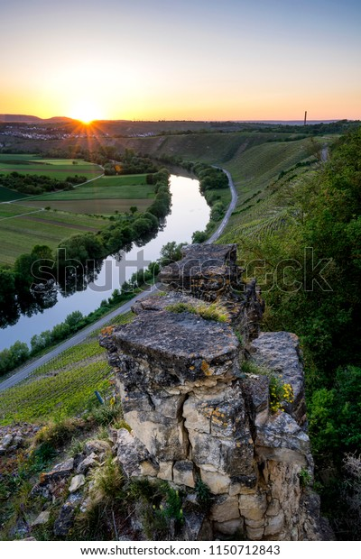 Rock formations during sunset with the river Neckar at the background in Hessigheim, Germany
