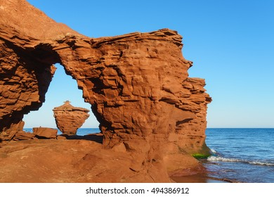 Rock formations formed by erosion on the north shore of Prince Edward Island, Canada.