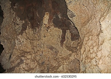 Rock formations inside the cave at Colossal Cave Mountain Park in Vail, Arizona, USA, near Tucson in the Sonoran Desert.