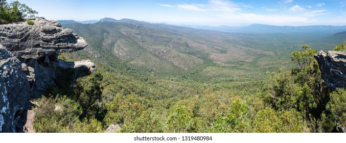 Rock formations known as the Balconies at Reed Lookout in the Grampians region of Victoria, Australia