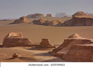Rock formations known as Kalutes in the Lut Desert in Iran.
